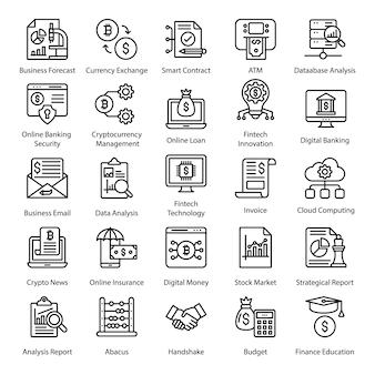 Fin tech startups lijn icons set