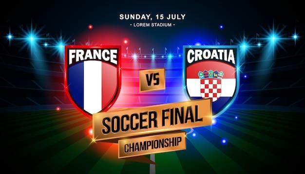 Finale voetbalwedstrijd tussen frankrijk en kroatië