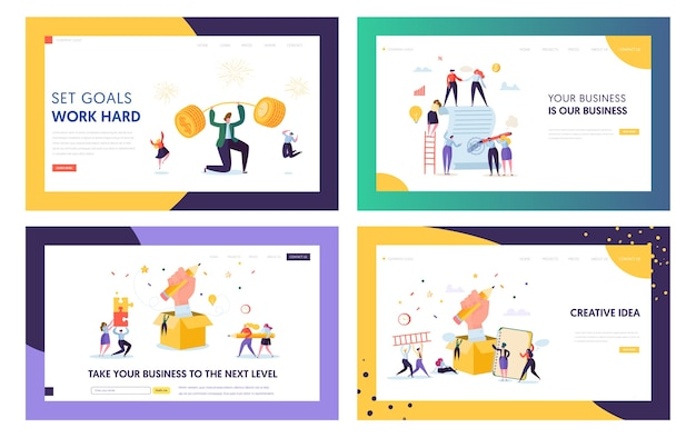Finance business success character landing page set. zakenman tillen barbell met munten. financieel doel bereiken concept voor website of webpagina. platte cartoon vectorillustratie
