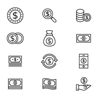 Finance line icons pack