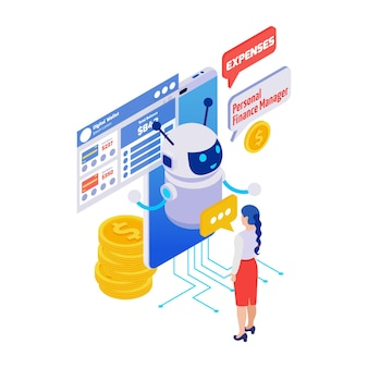 Finance manager digitale portemonnee chatbot applicatie isometrische pictogram 3d