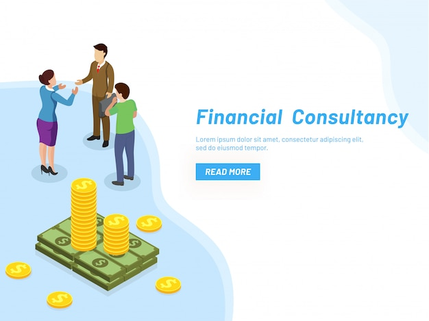 Financieel adviesconcept. Premium Vector