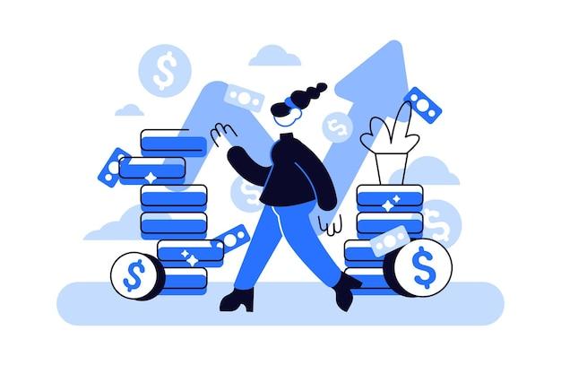 Financieel adviseur die op een stapel munten leunt, glimlacht vriendelijk en zwaait met de hand
