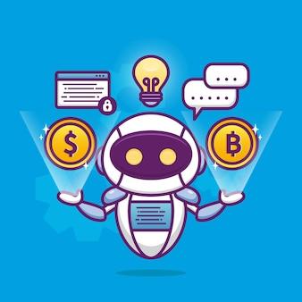 Financieel adviseur met schattige robot