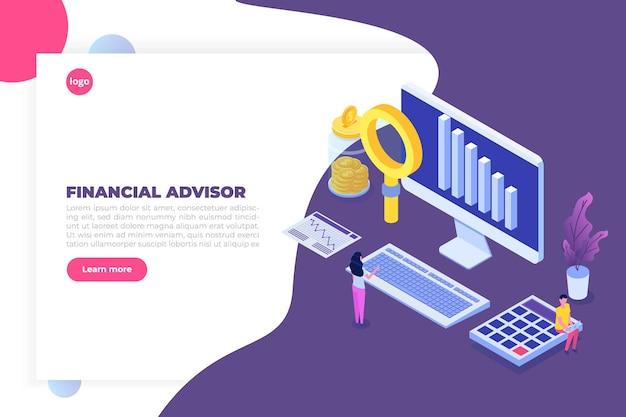 Financieel adviseur of administratie isometrisch concept met karakters. hero afbeeldingen.