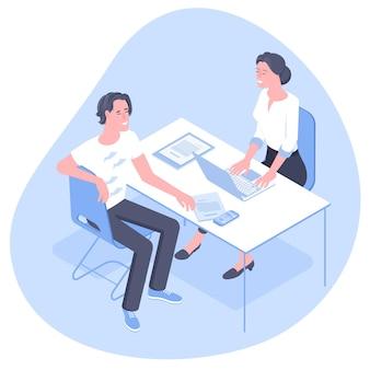 Financieel adviseur, verzekeringsadviseur, frontofficemanager zit op kantoor in en overleg met jonge professionele man.