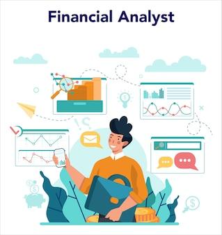 Financieel analist of adviseur. zakelijk karakter dat financiële operatie maakt.