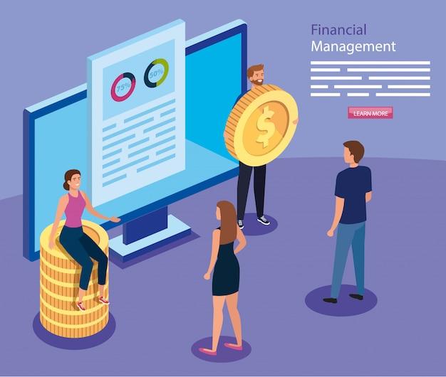 Financieel beheer met computer- en zakenmensen
