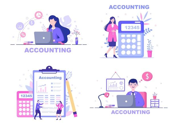 Financieel beheer of boekhoudkundige illustratie