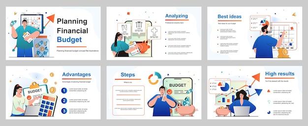 Financieel budgetconcept plannen voor presentatiediasjabloon mensen maken boekhoudkundige analyse