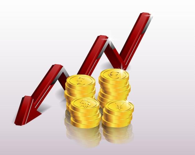 Financieel concept, dalende grafiek