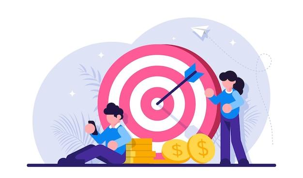 Financieel doel. gegevensanalyse, marketingoplossingen. financiële prestatie.