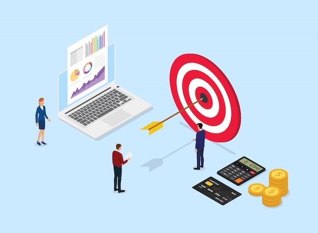 Financieel doelbedrijf met big data en team office mensen eromheen