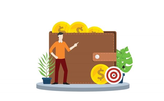 Financieel doelwit persoonlijk met portefeuille en gouden muntengeld