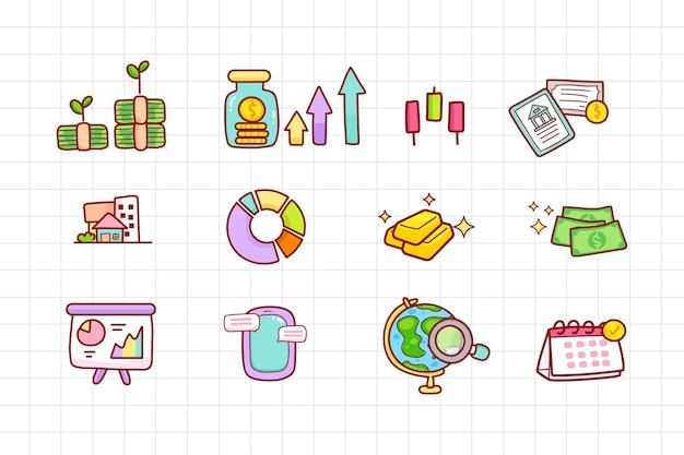 Financieel element pictogram besparing concept hand getekende cartoon kunst illustratie