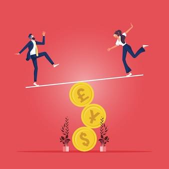 Financieel en zakelijk risico, stabiliteit of evenwicht tussen economie en investeringen of risico op verlies van baanconcept