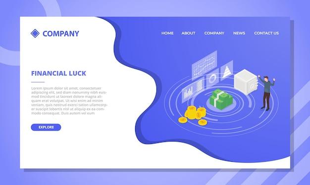 Financieel gelukconcept voor websitesjabloon of ontwerp van de startpagina