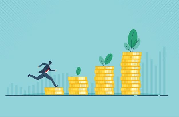Financieel groeiconcept met gouden muntconcept monetaire inzameling of strategie van winst