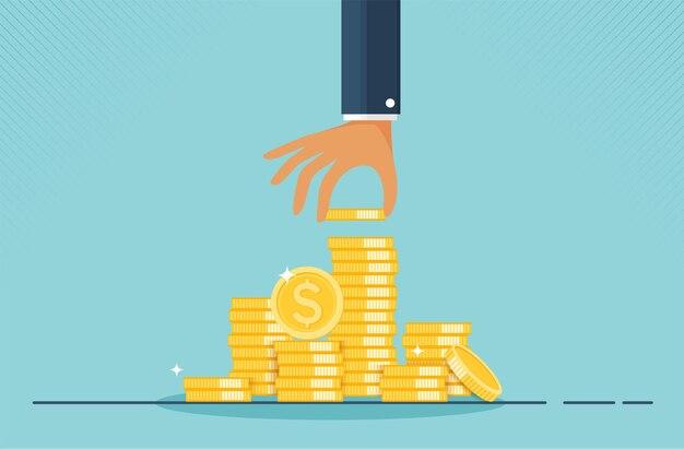 Financieel groeiconcept met stapels gouden muntstukkenconcept monetaire inzameling of strategie