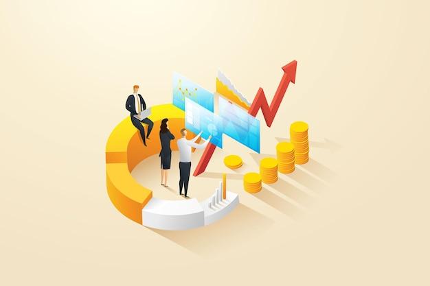Financieel management prestatie analyse infographic concept verhoogde groeiende winst