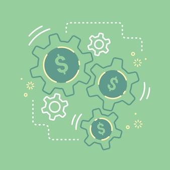 Financieel mechanisme radertje van geld versnelling maak zakelijke groei concept vector