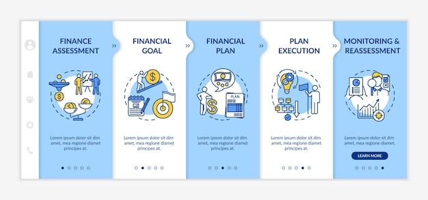 Financieel planningsproces onboarding vector sjabloon. budgetdoel
