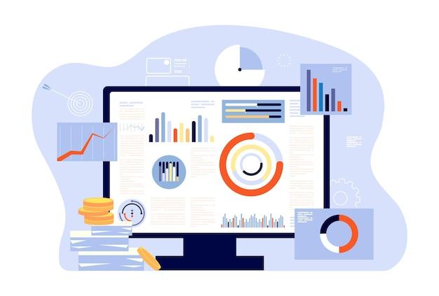 Financieel rapport en boekhouding. Premium Vector