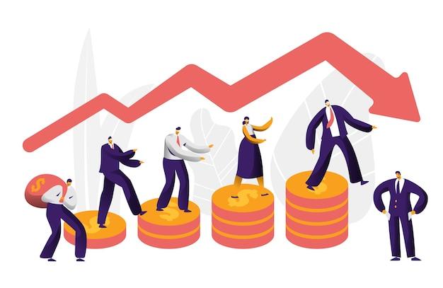 Financieel risico business character arrow concept. zakenman lopen op munten investeren mislukking verzekering. mensen werken bij danger graph stability. economie markt failliet platte cartoon vectorillustratie