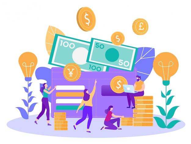 Financieel succes en besparingen platte vector concept