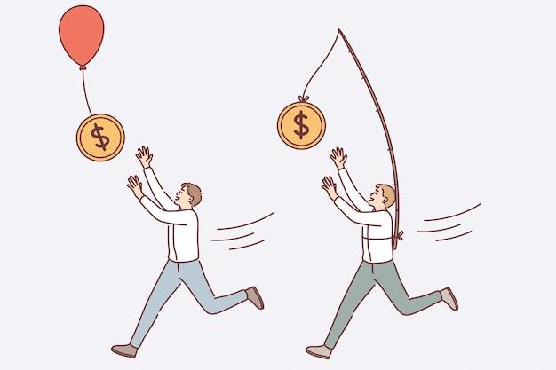 Financieel succes en rijkdomconcept. jonge lachende zakenlieden stripfiguren rennen proberen vliegende dollar munten geld te vangen op ballonnen en stok vectorillustratie