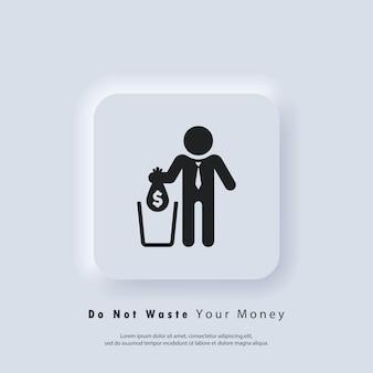 Financieel verliespictogram of vallende zak met dollar in afval en grote uitgaven, geldaftrek