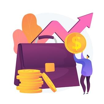 Financieel voordeel. zakenman stripfiguur met grote koffer geld verdienen, inkomsten krijgen. winst, inkomen, inkomsten. kapitaalwinstproces. vector geïsoleerde concept metafoor illustratie