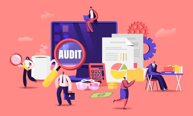 Financiële administratie en auditconcept. cartoon vlakke afbeelding