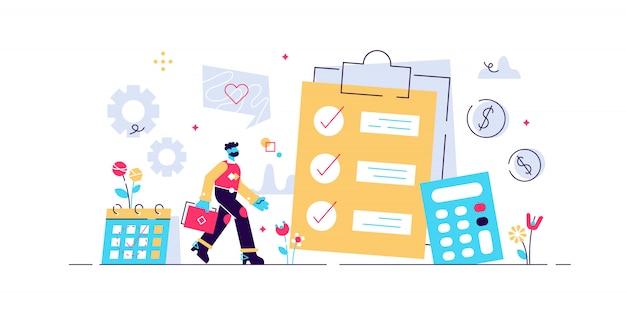 Financiële analist planning op checklist op klembord, rekenmachine en kalender. budgetplanning, evenwichtig budget, concept van bedrijfsbudgetbeheer. levend koraal blauw geïsoleerde illustratie