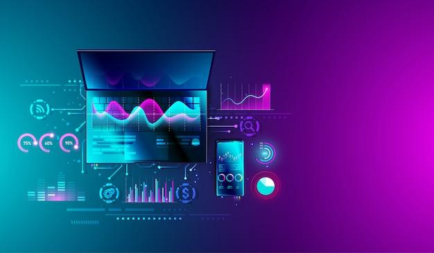 Financiële analyse van statistieken op laptop