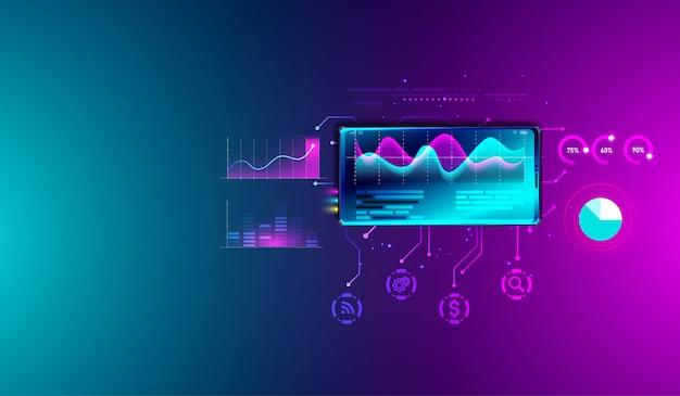 Financiële analyse van statistieken op smartphone