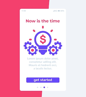 Financiële app, mobiele gebruikersinterface,