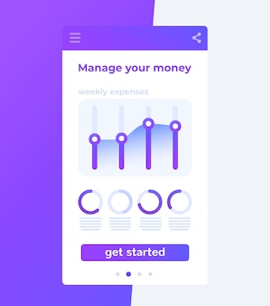 Financiële app, persoonlijke financiën mobiele gebruikersinterface,