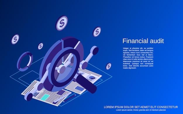 Financiële audit, analyse, controle, statistieken platte isometrische vectorconceptenillustratie