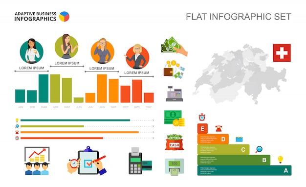 Financiële bar grafieken sjabloon voor presentatie