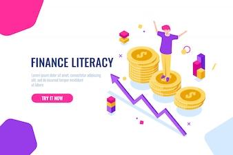 Financiële basiskennis isometrisch, geldaccounting, economische illustratie met vrouw die op het podium staat