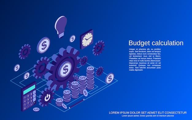Financiële berekening, budgetplanning, kostendefinitie plat isometrisch