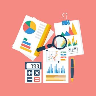 Financiële boekhoudkundige illustratie, bovenaanzicht