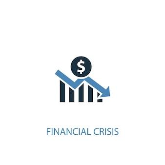 Financiële crisis concept 2 gekleurd icoon. eenvoudige blauwe elementenillustratie. financiële crisis symbool conceptontwerp. kan worden gebruikt voor web- en mobiele ui/ux