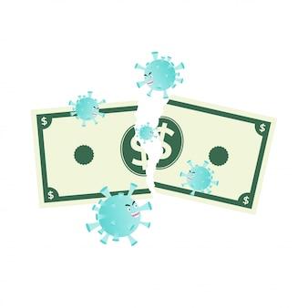 Financiële crisis de impact van de illustratie van het coronavirus
