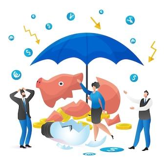 Financiële crisis in bedrijfsconcept, vectorillustratie, financiële economie valt naar beneden, gebroken idee, spaarvarken met geld, platte mensenkarakter