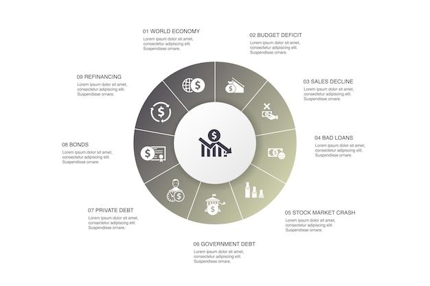 Financiële crisis infographic 10 stappen cirkel ontwerp. begrotingstekort, slechte leningen, overheidsschuld, herfinanciering van eenvoudige pictogrammen