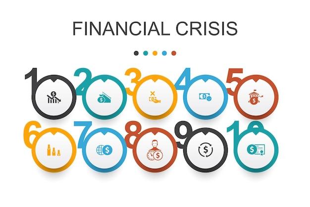 Financiële crisis infographic ontwerpsjabloon. begrotingstekort, slechte leningen, overheidsschuld, herfinanciering van eenvoudige pictogrammen