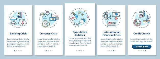 Financiële crisis onboarding mobiele app paginascherm met concepten. internationale economische recessie walkthrough vijf stappen grafische instructies. ui-vectorsjabloon met rgb-kleurenillustraties