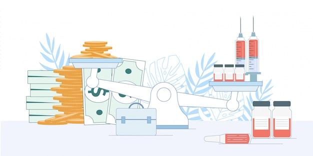 Financiële depressie balans schalen geld vaccin
